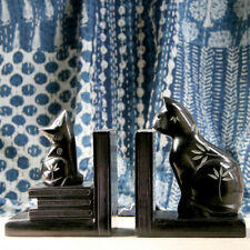 Cat & Mouse Bookends In Black Soapstone With Flower Design Shelf Tidies