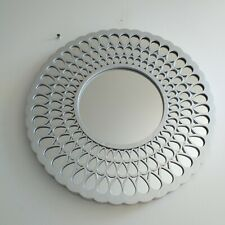 39 cm Round Silver Droplet Flower Pattern Wall Mirror Hall way Girls room Mirror