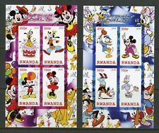 Rwanda Disneyland Imperforate Set Of Four Souvenir Sheets Mint Never Hinged