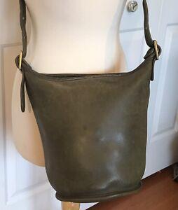 Vintage COACH HELEN BERG'S LEGACY Olive Green Leather Cross-body Bucket Bag 9953