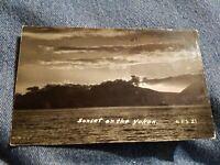 Vintage PHOTO POSTCARD ALASKA Sunset on the Yukon River RPPC post card