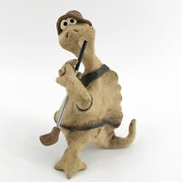 Vintage Signed Studio Art Pottery Clay Whimsical Turtle Golfer Figurine Sculptur
