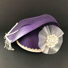 Vintage Deborah New York Purple Fancy Hat Beaded Derby Church Bonnet Easter