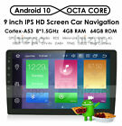 "9"" Android 10 Single 1Din Car Stereo 8Core RAM:4GB Radio GPS DAB Wifi 4G Video E"