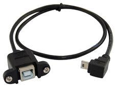 50 cm 90 grados USB 2.0 B hembra de montaje del panel a Mini 5pin macho Cable de ángulo hacia abajo