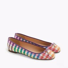 J Crew Camille ballet flats in rainbow gingham print Size 7 NWOB