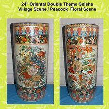 "New 24"" Tall Oriental Asian Geisha / Peacock Double Themed Umbrella Vase Holder"