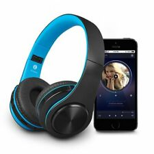 Blue Wireless Bluetooth Foldable Headphones Over Ear Hi-Fi Stereo Headset PC TV