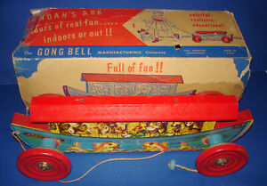 The Gong Bell MFG. Co.Wood & Metal NOAH'S ARK #231 Pull Toy & Box CT USA 1940s