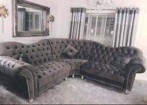 Elegance  Fabric Sofa Set 3 + 2 Seater/Corner  Studded Plush Velvet