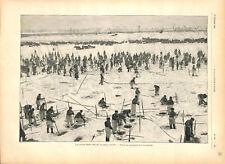 Russie pêche dans l'Oural pendant l'Hiver trous dans la glace GRAVURE 1896