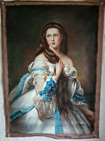 Antique Style Oil Painting Portrait Beautiful Woman in a Blue Dress Signed O/C