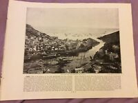 Antique Book Print - Douglas OR Looe  - UK - c. 1895
