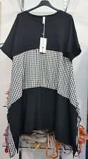 New Ladies Italian Lagenlook Black White Check tunic dress size 10 12 14 16 18
