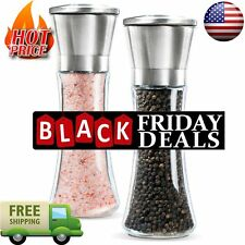 Premium Stainless Steel Salt and Pepper Grinder Set of 2 Brushed Mill 5 Grade