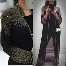 NEW SEQUINS JACKET LONG BLAZER TOPS WEDDING BLACK NIGHT PARTY PERFORMANCE COVER