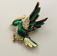 Vintage  Bird  Brooch Pin enamel on metal with crystals