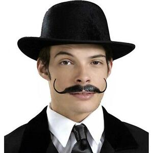 Snidely Moustache Gentleman Curl Fancy Dress Adult Costume Accessory 3 COLORS