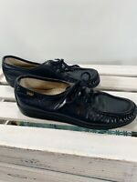 SAS Lace Up Loafers Moccasin Navy Blue Leather Size 8.5 Narrow