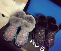 Glitter Sequins Womens Shoes Fur Trim Furry Casual New Fashion Snow Boots Size