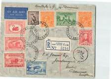 AUSTRALIA 1937 9v ON REGD AIRMAIL COVER W/ CIRCLED CACHET FROM SYDNEY TO DENMARK