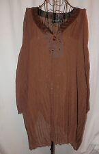 MAGGIE BARNES TOP 4X Brown Dotted Swiss Accordion Pleats SHEER 3'/4 Sleeve Laced
