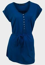 womens short sleeve plus size long belted  up burgundy or blue top blouse