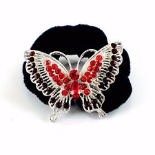 USA Butterfly Ponytail holder Elastic Rhinestone Crystal Hair Tie Rope RED 12