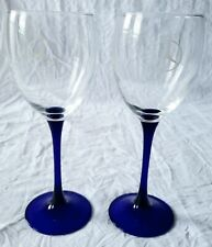 Mercedes Benz Set of 2 Cobalt Blue and Clear Crystal Wine Glasses w/ White Logo