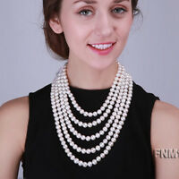 """Real 10mm White Round Freshwater Pearl Five-strand Opera Bride Necklace 16-26"""""""