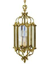 Large French Antique Bronze & Glass Lantern Chandelier 3 Lights