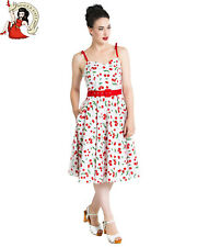 HELL BUNNY SWEETIE SUMMER DRESS CHERRY 50s rockabilly WHITE XS-4XL