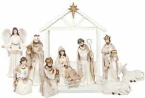 Xmas White Nativity Set Contemporary Christmas 10 Figures Gold Highlights 17.5cm