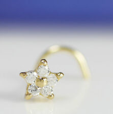 14K Solid Gold 6 mm CZ Nose Stud Nose Ring Nose Piercing Jewelry