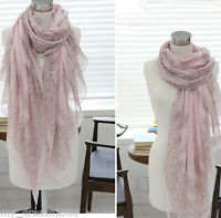 Women's Fashion Printing Pink and Gray porcelain Long Soft Scarf Wrap Shawl