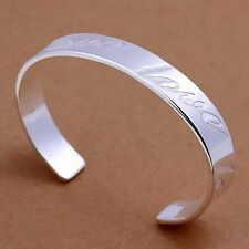 New Sterling Silver Plated Love Cuff Bangle Bracelet Engraved approx 1 ounce!