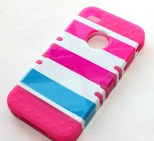 iPHONE 4 4G 4S - HARD & SOFT RUBBER IMPACT HYBRID CASE PINK BLUE WHITE STRIPES