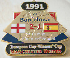 MANCHESTER UNITED v BARCELONA Victory Pins 1991 EUROPEAN CUP Badge Danbury Mint