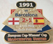 MANCHESTER UNITED v BARCELONA Victory Pins 1991 EUROPEAN CUP Badge Danbury Mint