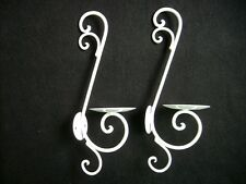 Pair Of New Iron Sconces Wall Candle Holders White Color