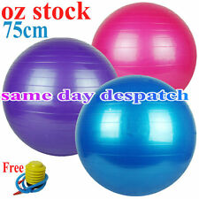 75cm Swiss Ball YOGA HOME GYM EXERCISE BALANCE PILATES EQUIPMENT FITNESS BALL