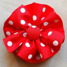 """Red w/ White dots Round Hair Bow on a 3"""" bow clip barrette new, perfect"""