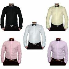 Smoking Designer Herren Hemd S11 + Schwarze Fliege Slim Fit Manschettenknöpfe