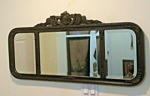 Giltwood frame French Art Deco Mantel Beveled Mirror Sculptured with flowers,