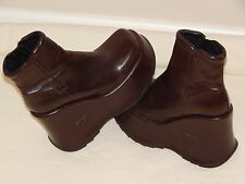 Womens 8.5 (39) SONAX Platform Punk Goth Brown Leather Ankle Boots MADE SPAIN