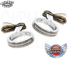 Custom Dynamics Wrap Around LED Turn Signals on 49mm Harley Forks - Chrome-Clear