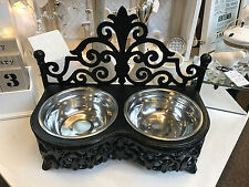 New Stainless Steel & Cast Iron Dog Cat Food Water Feeding Bowl Dish Double Set