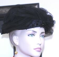1960 d.Charles hat tulle satin black beads on front black satin bow back hatpin