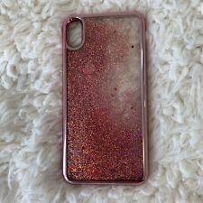Typo Transparent Phone Case iPhone XS Max Glitter Dark Pink New