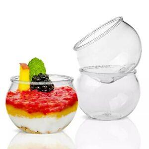 50 PCS Clear Plastic Disposable Party Shot Glasses Dessert Cups Fish Bowl 80ml